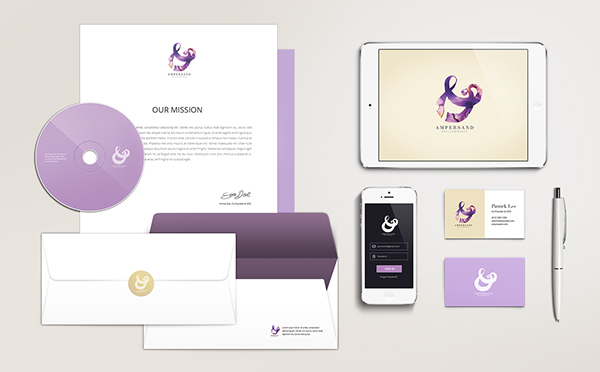 ampersand type Pleedesigner graphic design art design thinking taiwan mock_up   watercolor logo purple high fashion Classic Identity Design