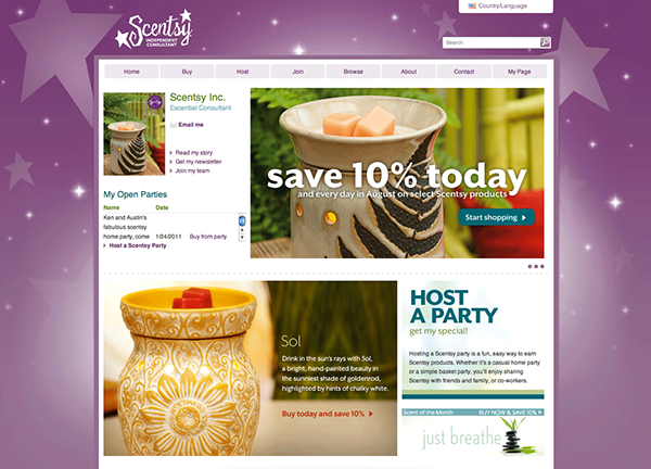 Scentsy Independent Consultant Personal Website on Behance