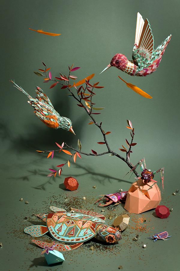 zim&zou cabinet curiosités paper art bird animal lobster spider Turtle installation Style detail clean
