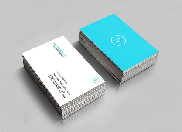 dentist dental logo business card card blue