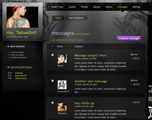 tattoos social network socialengine Flash Interface Flash Application get inkd