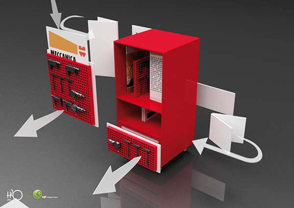 Industrial Design exhibition totem wurth prodotti