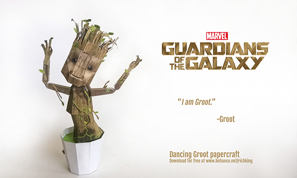 Guardians of the Galaxy Papercraft Dancing Baby Groot