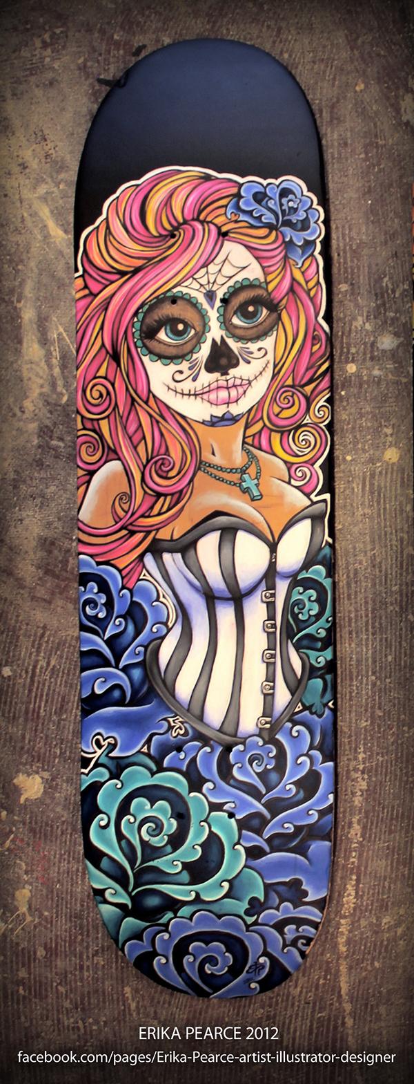 D a de los muertos skate decks on behance for Best paint for skateboard decks