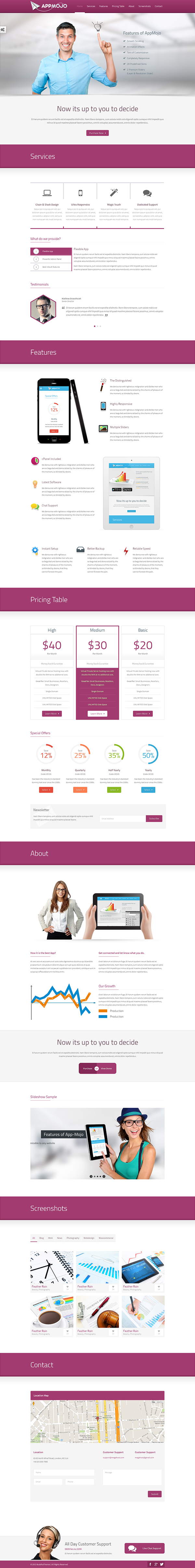 App mojo single page software promotion html on pantone for Page 3 salon coimbatore