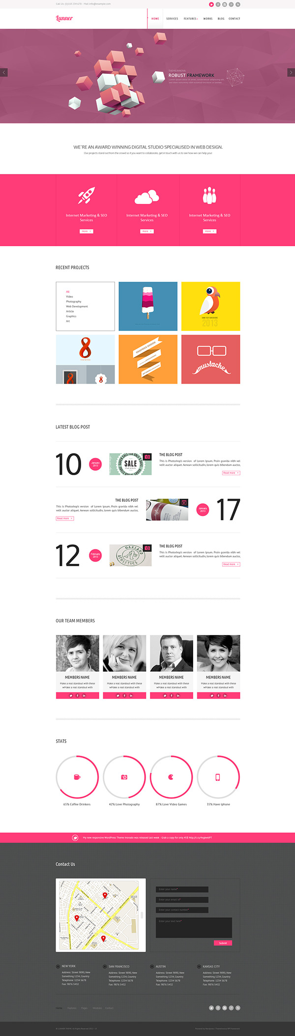 lunner one page portfolio template on behance
