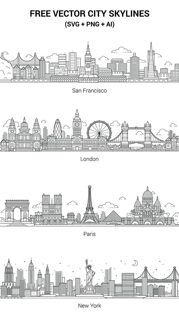 free vector city skylines on behance