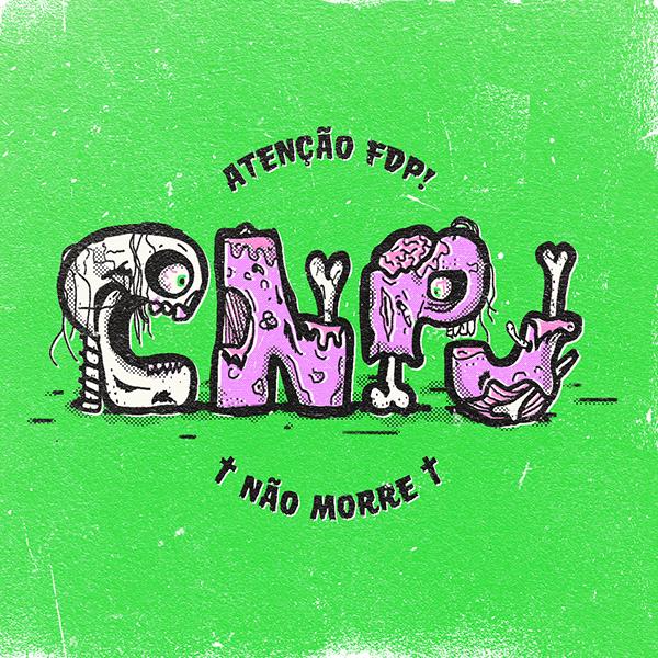 lettering escrito cnpj nao morre como se fosse feito de partes do corpo humano