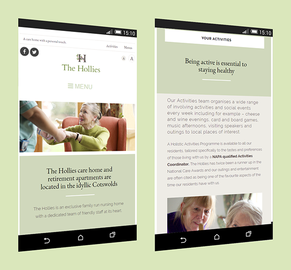 The Hollies care home website on Pantone Canvas Gallery