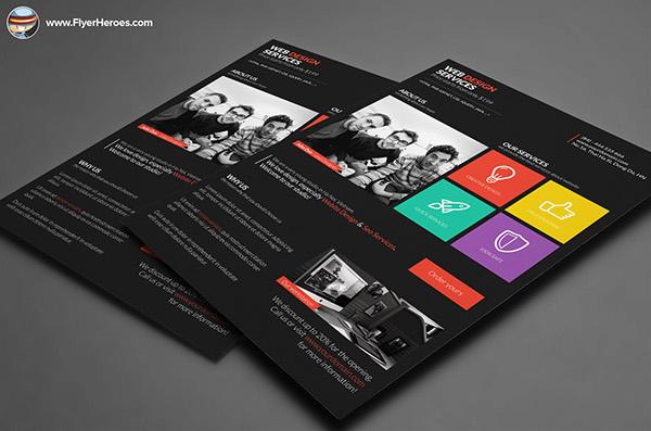Metro Style Web Design Flyer Template On Behance - Web design flyer template