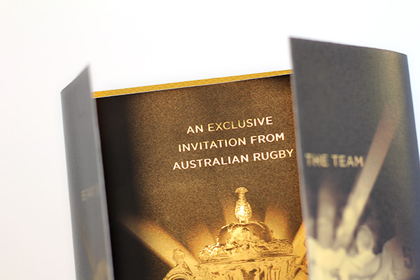 gold foil Rugby Rugby Union black Duotone invite world cup