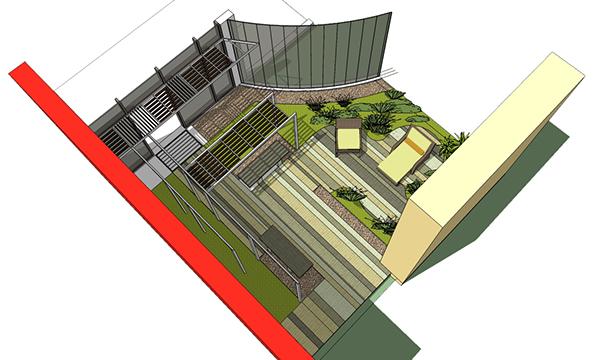 Landscape proposal hospital balcony dubai uae on behance for Garden design sketchup 8