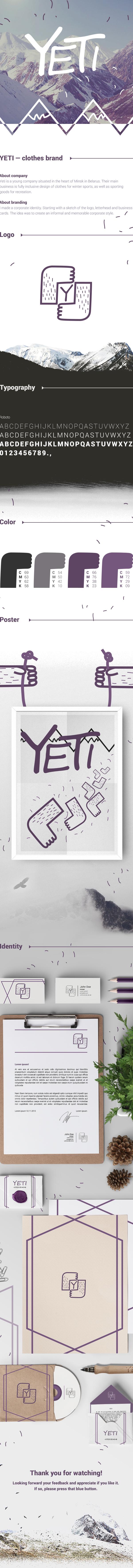 yeti logo clothes Corporate Identity business card media