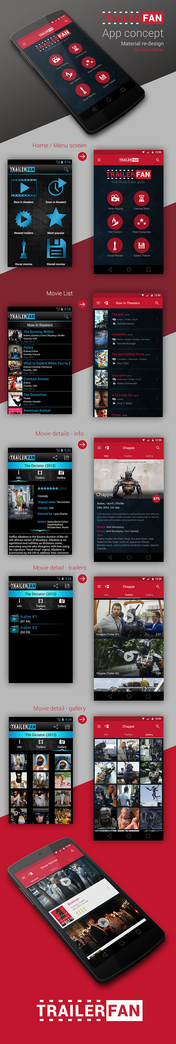 movie trailer mobile material redesign