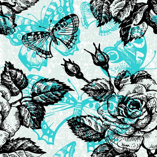 vintage  seamless  pattern  bird  flower  rose  hand drawn textile butterfly
