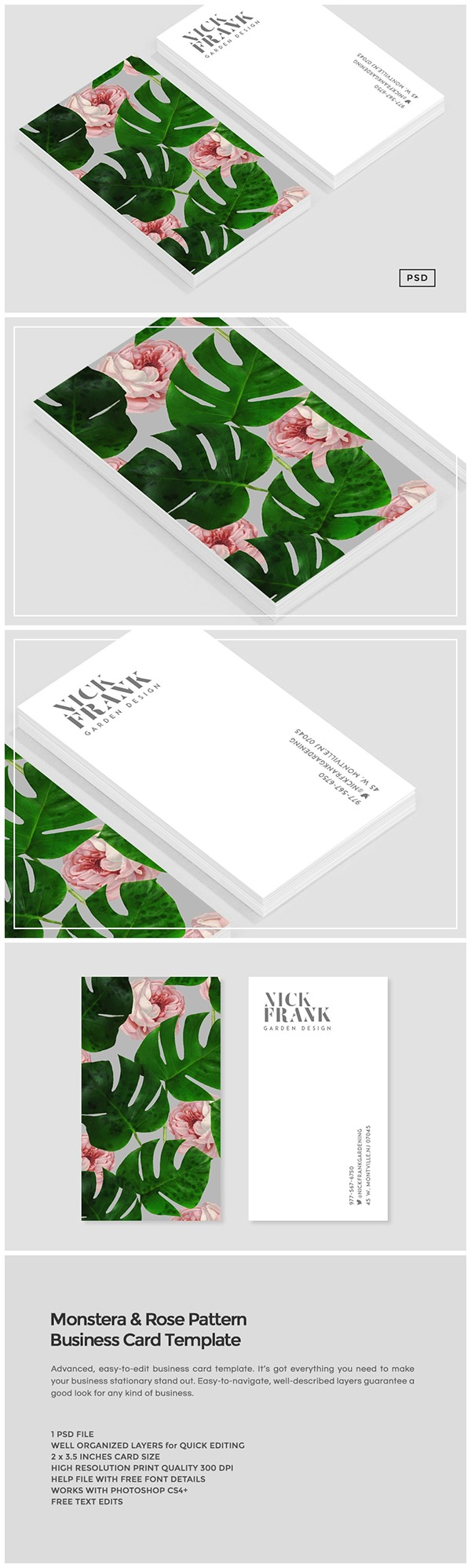 Monstera rose pattern business card template on behance reheart Images