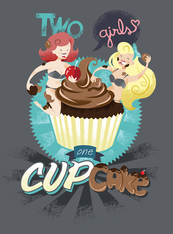 girls cupcake one cup cup chocolat fight vintage t-shirt camiseteria
