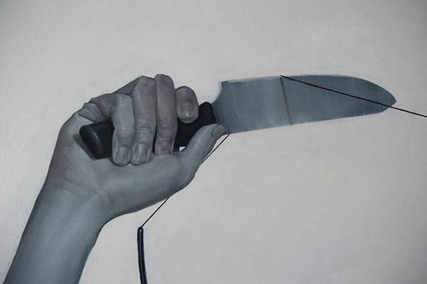 oil on canvas grayscale figurative
