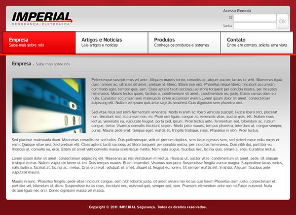 imperial Eletronic security segurança eletrônica Ariquemes Rondônia Brazil Brasil logo Logotipo site interface Interface