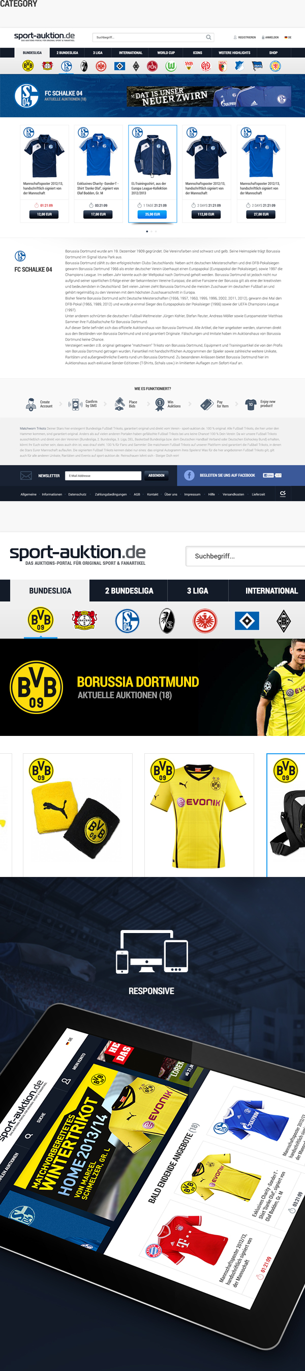 sport auktion redesign soccer e-commerce world cup football bundesliga Clothing Responsive auction