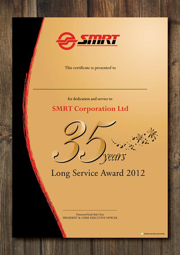 SMRT Long Service Award Certificate 2012 on Behance