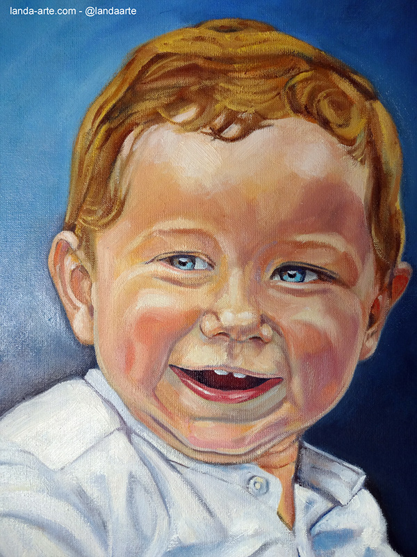 Retrato de ni o pintado al leo little boy portrait on - Retratos de ninos al oleo ...