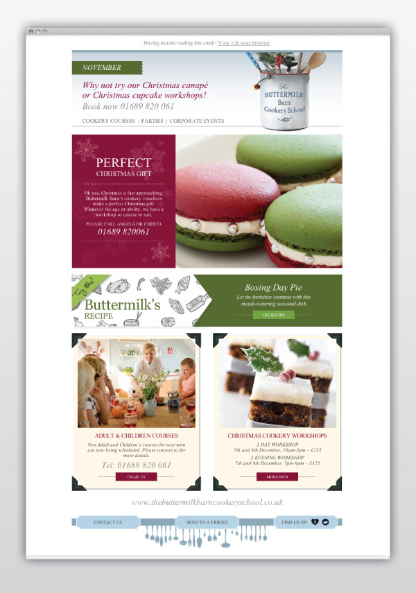 Buttermilk Barn Cookery School Email Template On Behance