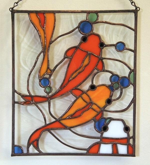 Koi fish pond stained glass on behance for Koi pond glass