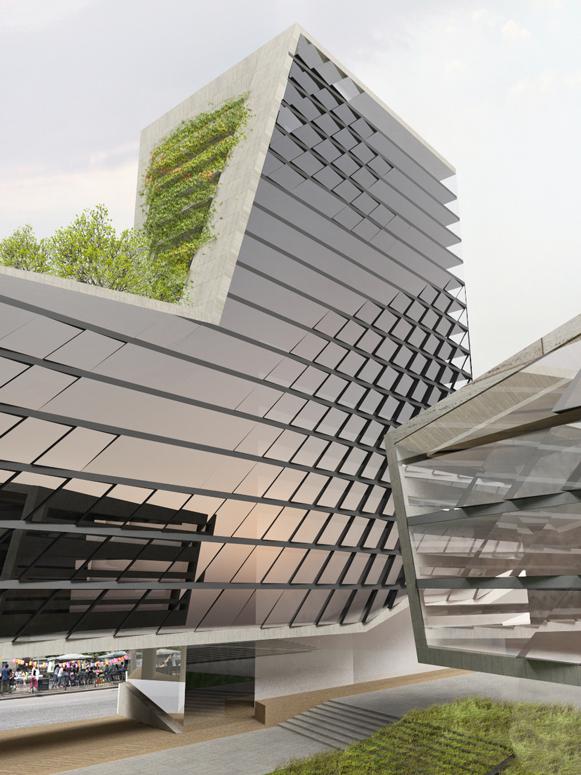 tower parametric ADVANCED GEOMETRY  Green Roof facade avlu garden skyscraper