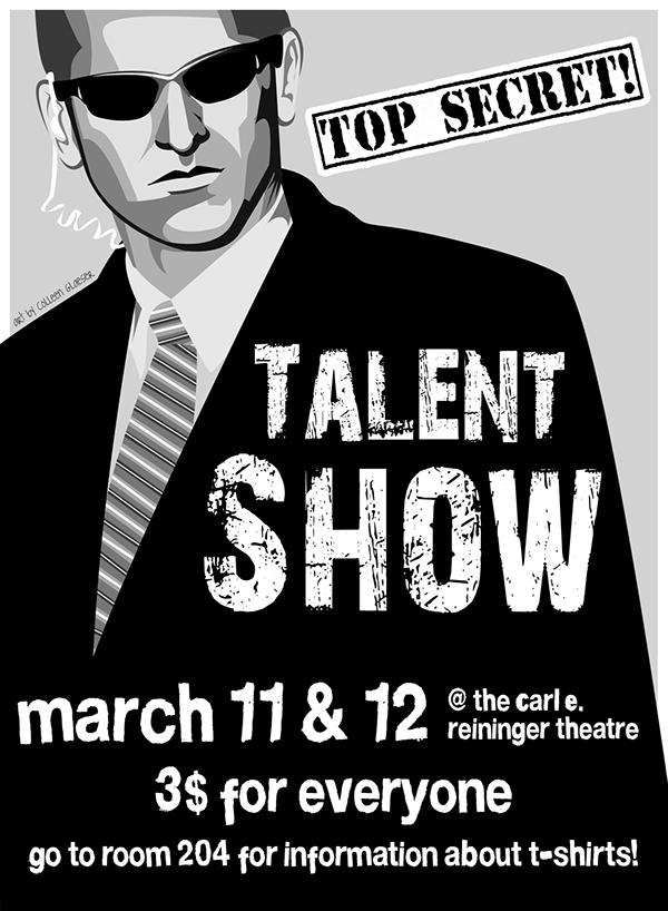 agent illustration for high school talent show poster on