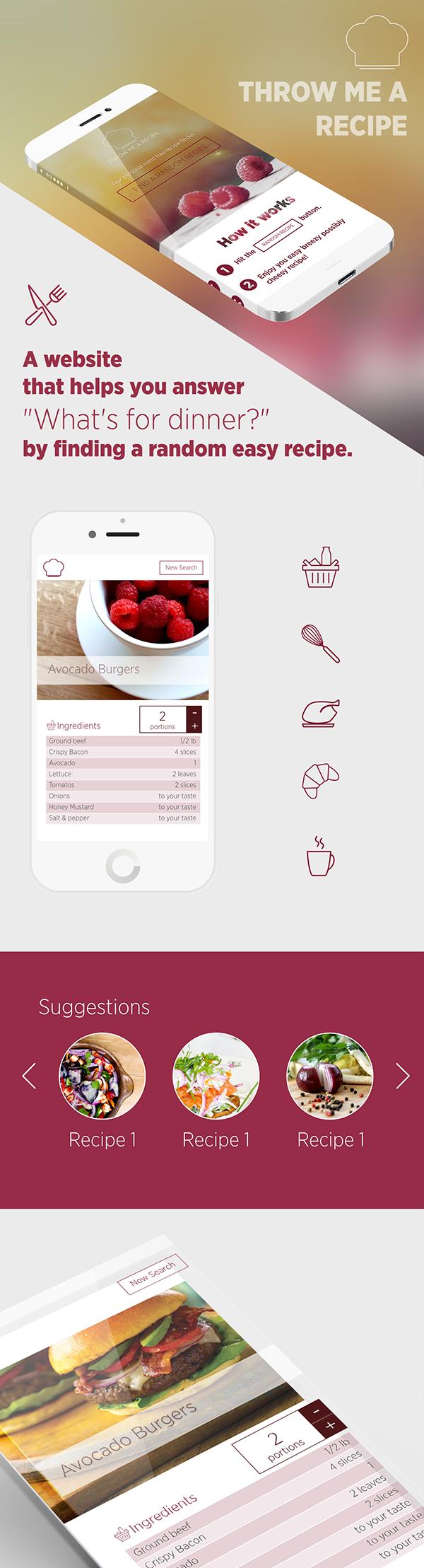 recipe UI icons Web design Food  cooking app iphone web app