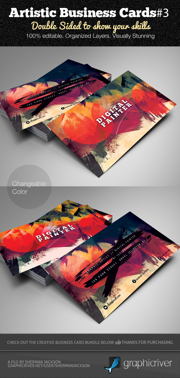 Artistic Business Card PSD Template v.3 on Behance