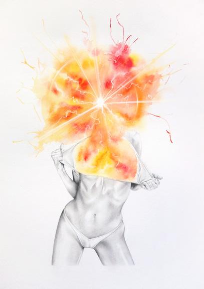 porn Ecstasy spiritual body watercolor pencil sex abstract figure color explosion