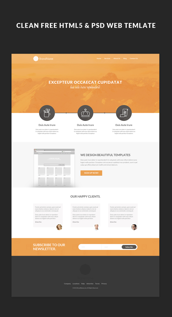 Free HTML5 Web Template & Tutorial on Behance