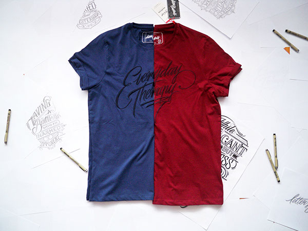 lettering HAND LETTERING Clothing Line Clothing wear graphic design Collection tshirt type poster Retro
