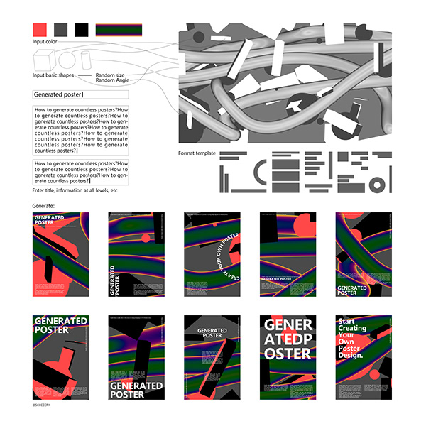 Abstract Composition Generator Generated Posters On