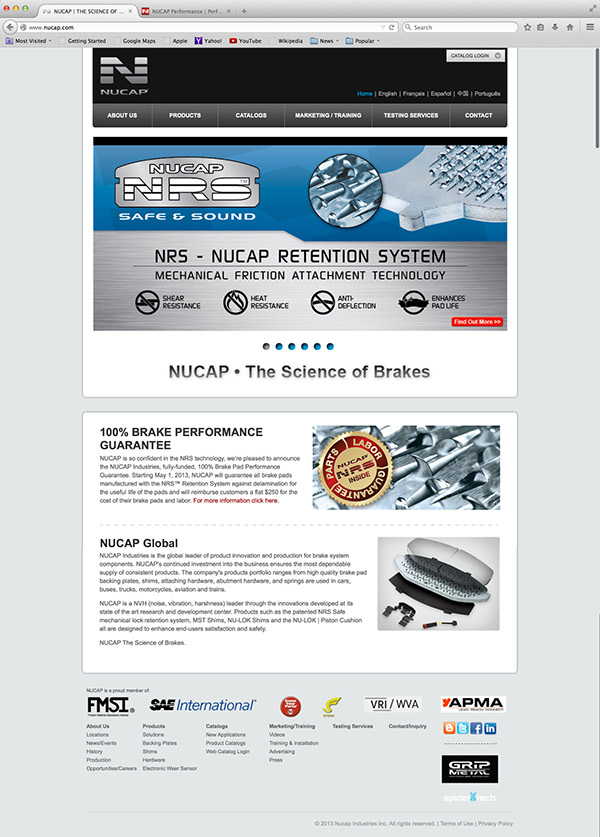 NUCAP website Brake Pads