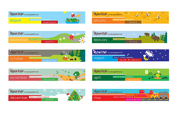 Bistro Kids Calendar Headers On AIGA Member Gallery