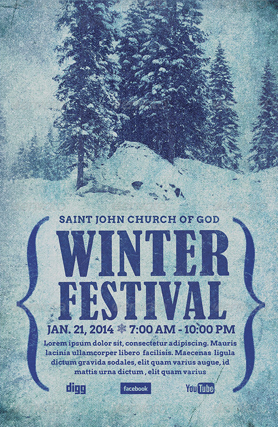 winter festival flyer template on behance