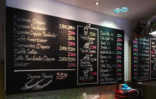 Handlettering chalk signs Chalkboard signwriter Retro handmade Coffee bistro restaurant Food  drinks beverages black board
