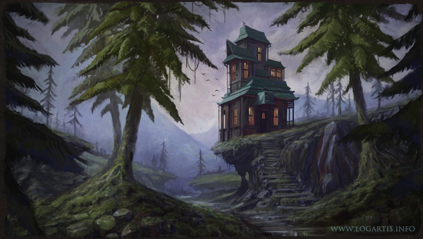 cliff house Tree  Landscape mountain forest building pine fir swamp