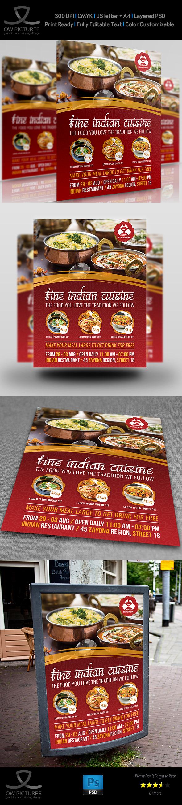 Indian Restaurant Flyer Template On Behance