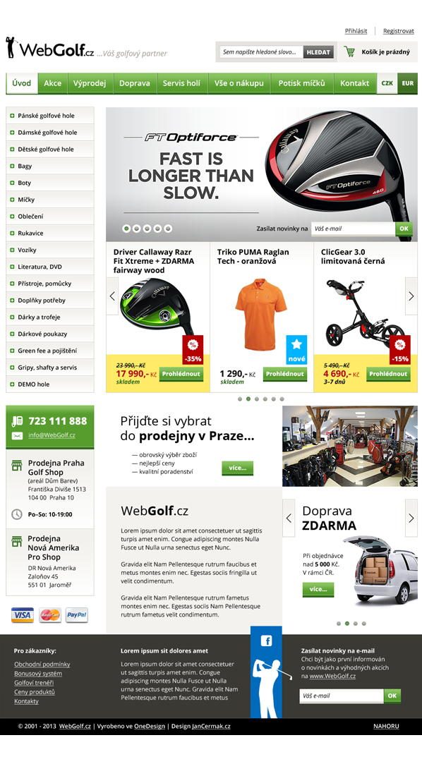 WebGolf.cz,e-shop,Webdesign,design,golf,green