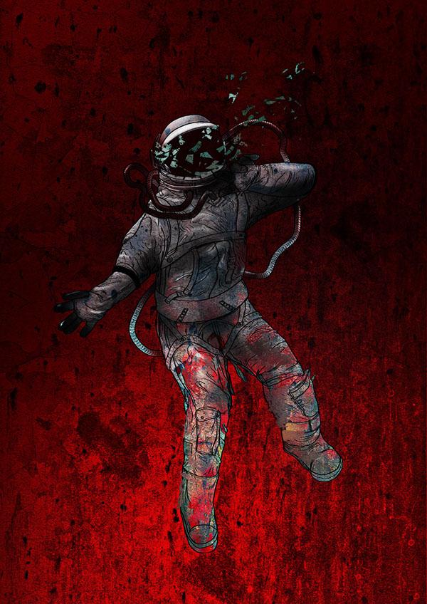 mars  falling   ilustres  ilustradores  ecuador  quito  space  espacio  muerte  death