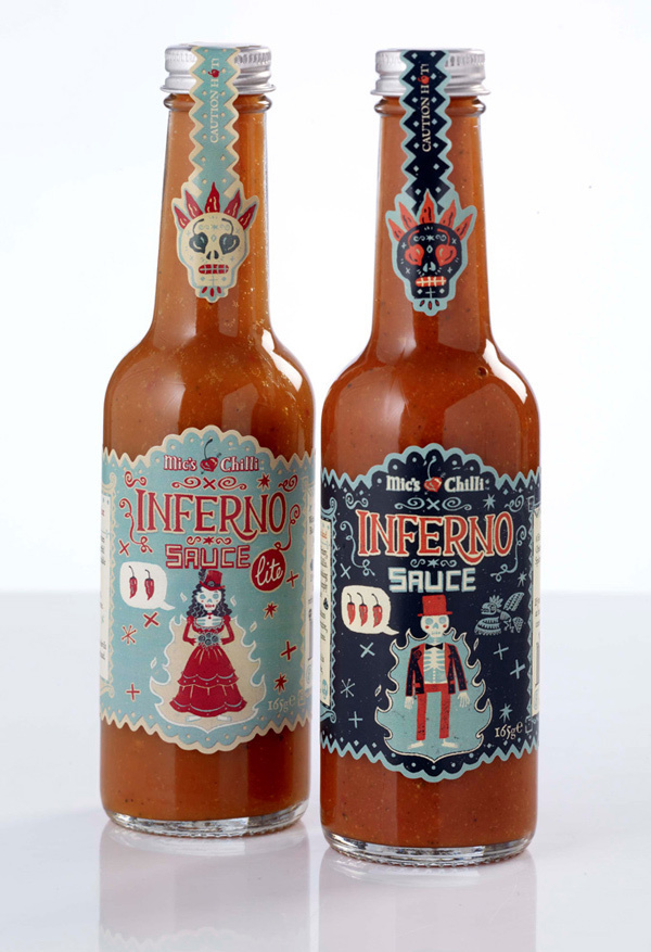 skeletons sauce bride groom folk art labels day of the dead skulls Mexican south american Retro limited palette Chilli award winning