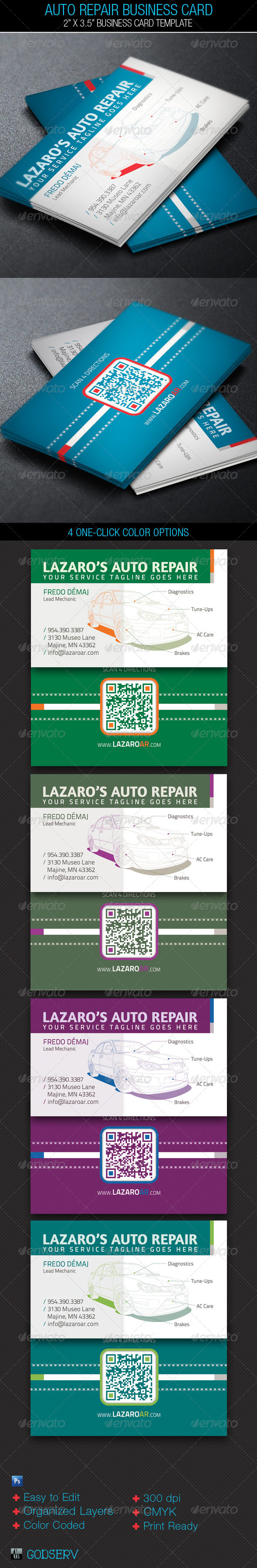 Auto Repair Service Business Card Template on Behance