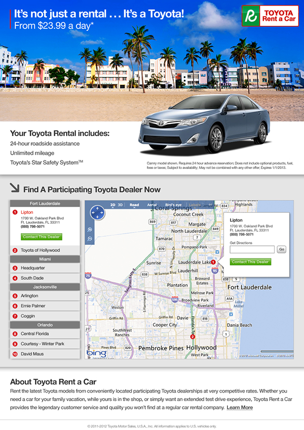 Toyota Rent A Car Regional Landing Pages Banner Ads On Behance