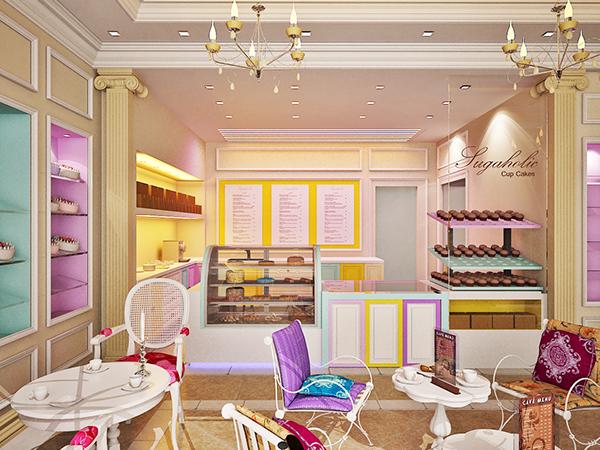 Sugaholic Cup cake shop interior on Behance