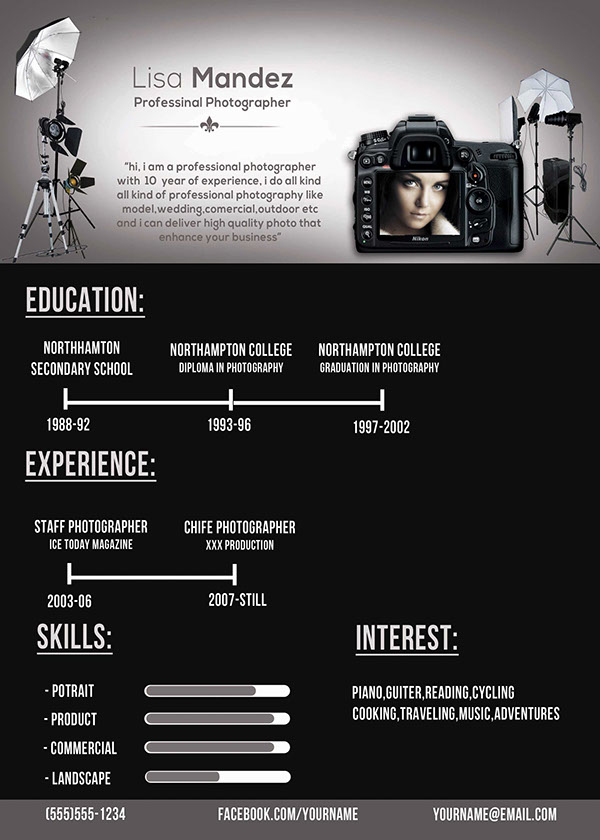 photographer resume on behance - Photographer Resume