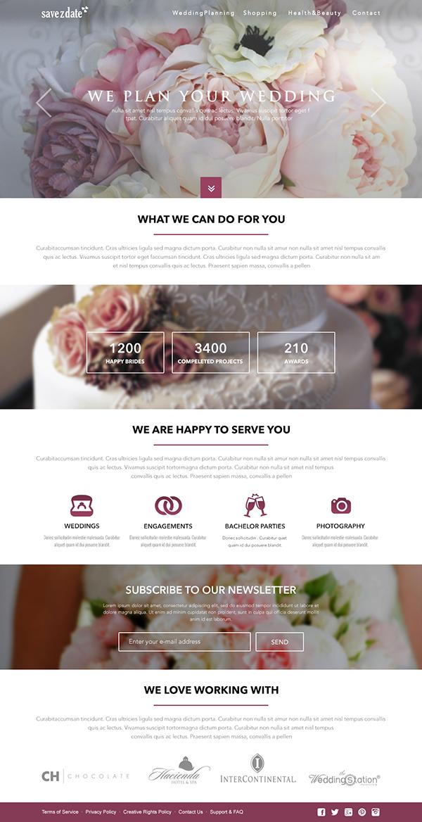 wedding planner free website template on behance